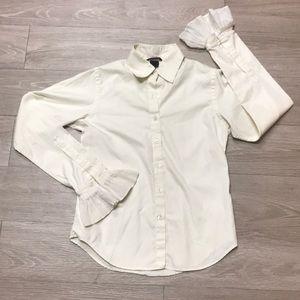 Pink tartan Button down bell sleeve blouse